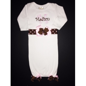 White Personalized Layette Gown with Pink & Brown Bows