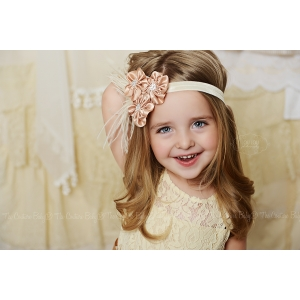 Champagne & Ivory Satin Cluster Rhinestone & Feather Headband
