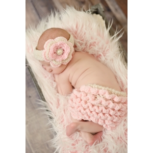 Pink & Cream Crochet Ruffle Diaper Cover & Headband