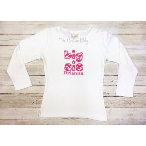 Big Sis or Little Sis Hot Pink Chevron Personalized Shirt or Onesie