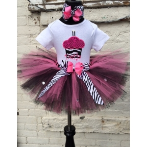 Cupcake Zebra Bling Personalized Hot Pink & Black Tutu Set