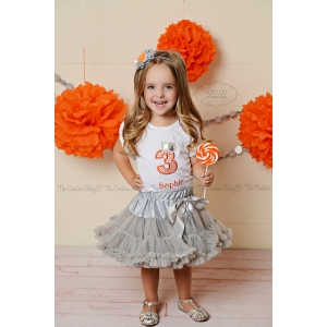 Coral and Silver Chevron Princess Birthday Set  1 2 3 4 5