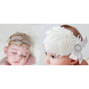 Featherlicious White or Ivory Diva Feather Headband