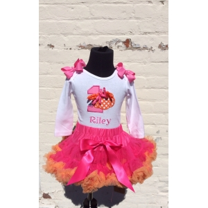 Hot Pink & Orange Pumpkin Birthday Pettiskirt Set
