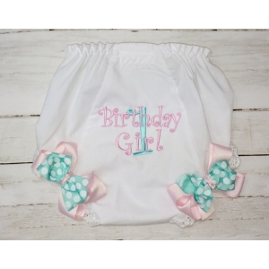 Aqua & Pink Personalized Birthday Diaper Cover Bloomers