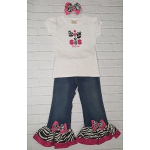 Big Sis/Lil Sis Zebra & Pink Rhumba Denim Pants 3 Pc. Set