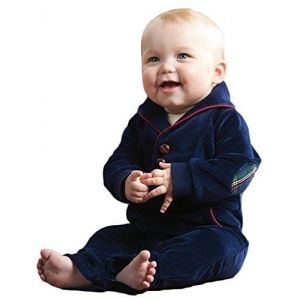 Little Gentleman Navy Blue Velour One Piece Mud Pie