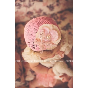 Pink Butterfly, Flower & Pearl Crochet Hat