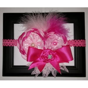 Hot Pink & Pink Flower Ribbons & Lace Headband