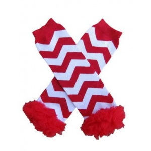Red & White Stripe Chiffon Ruffle Leg Warmers