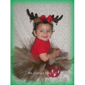 Reindeer Antlers & Tutu Christmas 2 Pc Set