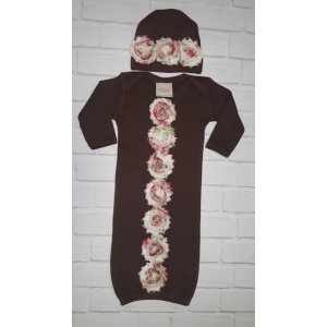 Shabby Rose Brown Layette Gown & Hat Set