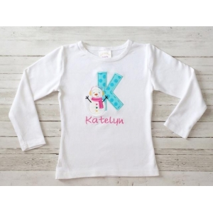 Snowman Personalized Name & Initial Shirt or Onesie