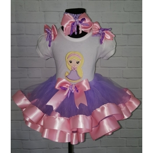 Baby Rapunzel Pink & Lavender 3 Pc. Personalized Ribbon Tutu Set