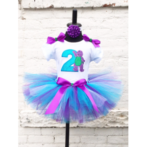 Barney Purple & Teal Glitter Birthday Tutu 3 Pc Personalized Set Age 1 2 3 4 5