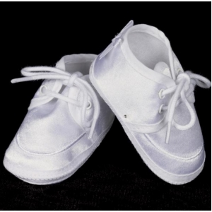 Boys White Satin Christening Booties