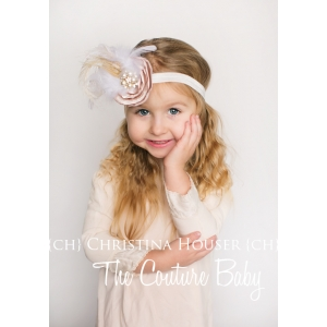 Roaring 20's Vintage Shades Of Ivory Feather & Pearl Headband