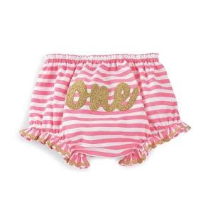 One Gold & Hot Pink Glitter Bloomer Diaper Cover  Mud Pie Mudpie