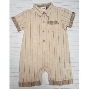 Boys Tan & Brown Stripe Romper One Piece
