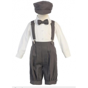 Boy's Charcoal Grey Vintage News Boy 5 Piece Knicker Set