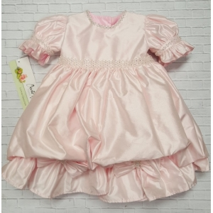 Pearl & Crystal Pink Silk Party Infant Dress 1st Birthday Christie Helene Special occasion dress