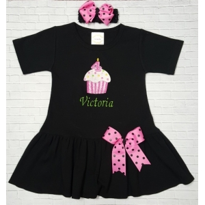 Personalized Cupcake Birthday Pink or Black Dress & Bow