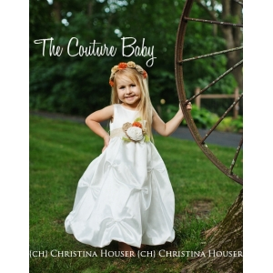 Rustic Vintage Ivory Gathered Pin Tuck Flower Girl Birthday Special Occasion Dress & Headband Set
