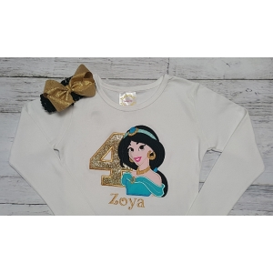 Personalized  Jasmine Birthday Shirt~Pants & Headband 3 Piece Set Disney Bound