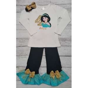 Personalized  Jasmine Birthday Shirt~Pants & Headband 3 Piece Set