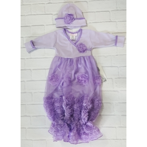 Lilac Lavender Raised Floral Rosette Layette Gown & Hat Set