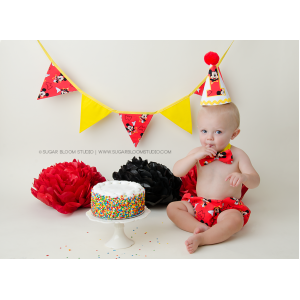 Red Mickey Boys 1st Birthday Cake Smash 3 Pc Set