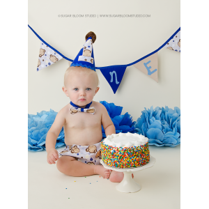 Boy's Monkey Face 1st Birthday Cake Smash 3 Piece Set