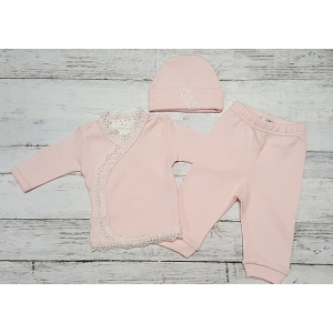 Pink & White 3 Piece Layette Set Take Me Home