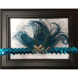 Peacock & Crystal Butterfly Sequin Feather Headband