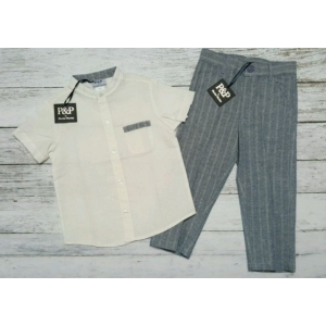 Piccino & Piccina Blue & Ivory Shirt & Pin Stripe Pant Set