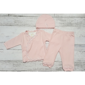 Pink Lace 3 Piece Take Me Home Layette Set
