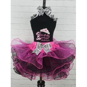 First Birthday Personalized Hot Pink & Black Princess Tutu Set