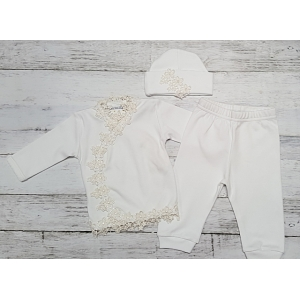 White & Ivory Floral Lace Trim 3 Piece Layette Set