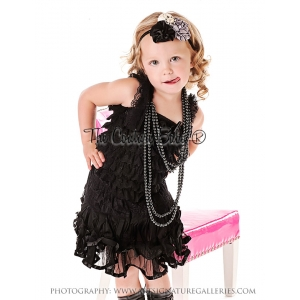 Black Ribbon Satin & Lace Pettiskirt & Lace Petti Romper Set