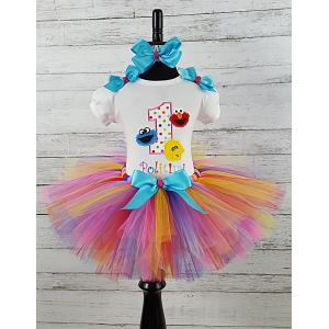 Elmo-Cookie Monster-Big Bird 1st Birthday Personalized Age & Name  Tutu 3 Piece Set