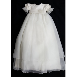 Christie Helene LillyAnna Ivory Organza Christening Gown & Hat Set Crystal & Ostrich Feather Hat (6m)