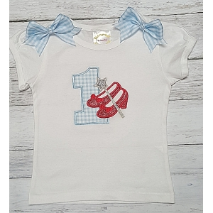 Dorothy Red Glitter Shoes Personalized 1st Birthday Onesie or Shirt 2nd 3rd 4th 5th 6th 7th 8th Birthday