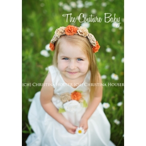 Rustic Burlap Tan & Rust Flower Headband