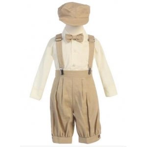 Boy's Khaki Vintage Look News Boy 5 Piece Knicker Set