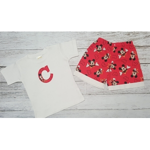 Boys Mickey Red and White Shorts with Personalized Initial Shirt, Onesie or Tank 2 PIECE SET Disney Bound