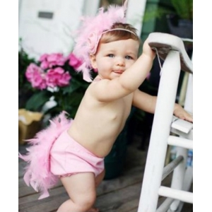 Pink Feather Ruffle Butts Diaper Cover