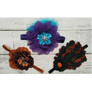 Headband Of The Month  Halloween Pumpkin-Thanksgiving Turkeys or Purple & Turquoise Headband Special  $9.99