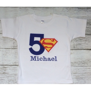 Superman Boy's Personalized Birthday Shirt Onesie or Tank Top