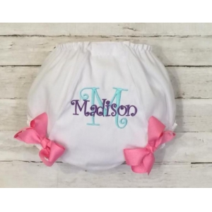 Hot Pink, Aqua & Purple Personalized Diaper Cover Bloomers