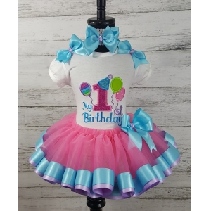 Balloon Bash Personalized Hot Pink-Turquoise & Lavender Ribbon Birthday Tutu 3 Pc Set